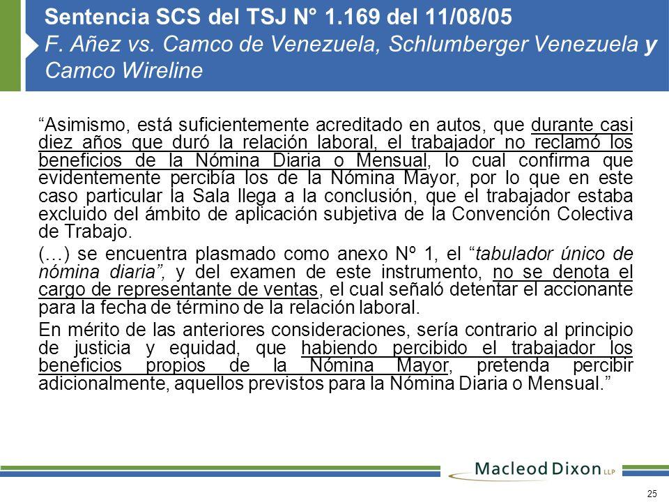 Sentencia SCS del TSJ N° 1. 169 del 11/08/05 F. Añez vs