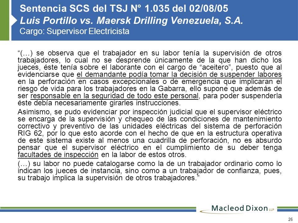 Sentencia SCS del TSJ N° 1. 035 del 02/08/05 Luis Portillo vs