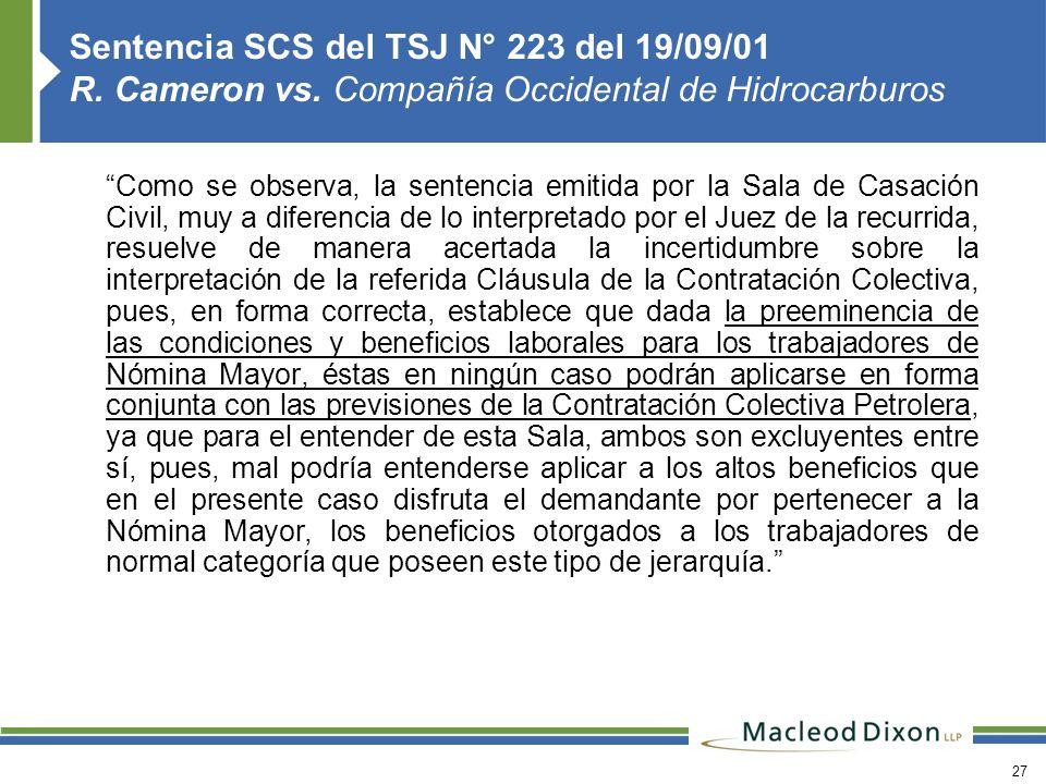 Sentencia SCS del TSJ N° 223 del 19/09/01 R. Cameron vs