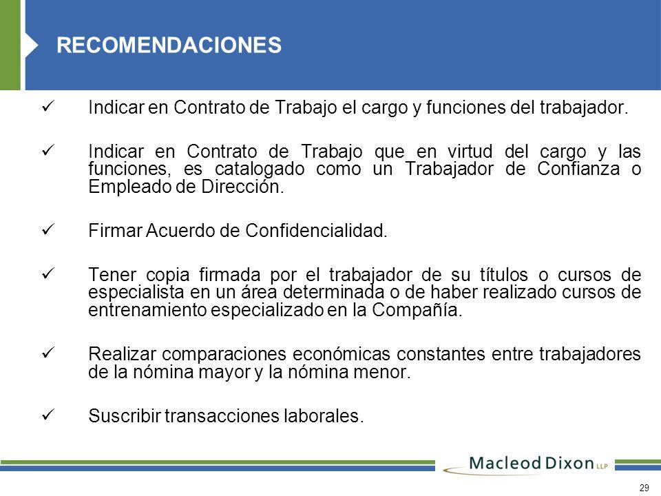 RECOMENDACIONES Indicar en Contrato de Trabajo el cargo y funciones del trabajador.
