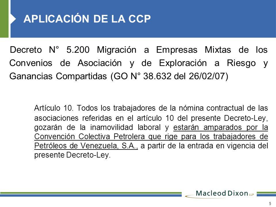 APLICACIÓN DE LA CCP