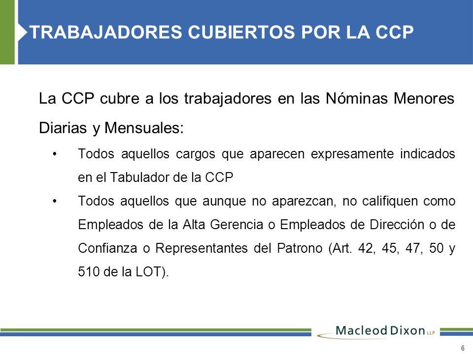 TRABAJADORES CUBIERTOS POR LA CCP