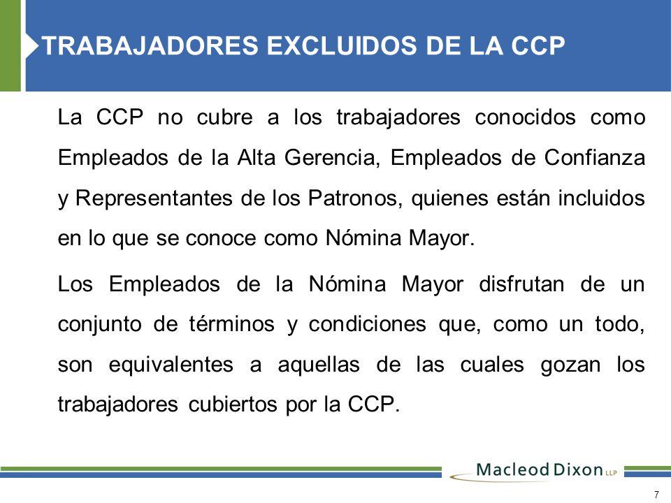 TRABAJADORES EXCLUIDOS DE LA CCP