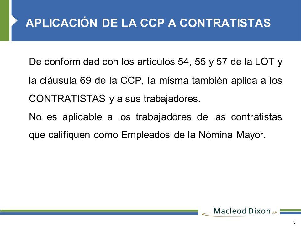 APLICACIÓN DE LA CCP A CONTRATISTAS