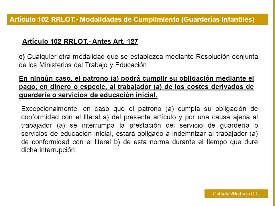 Artículo 102 RRLOT.- Antes Art. 127