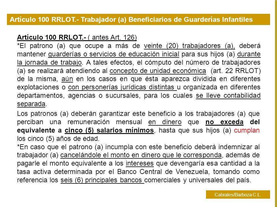Artículo 100 RRLOT.- ( antes Art. 126)