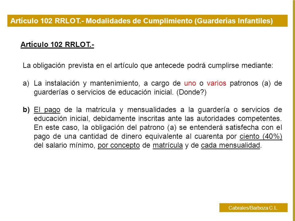 Artículo 102 RRLOT.- Modalidades de Cumplimiento (Guarderías Infantiles)