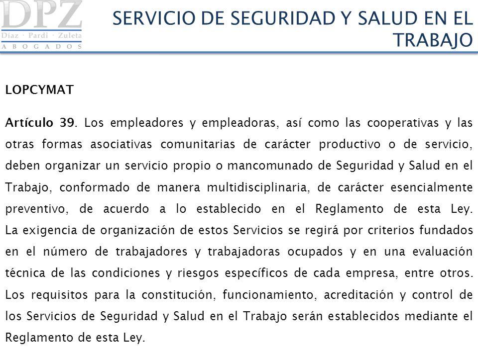 SERVICIO DE SEGURIDAD Y SALUD EN EL TRABAJO