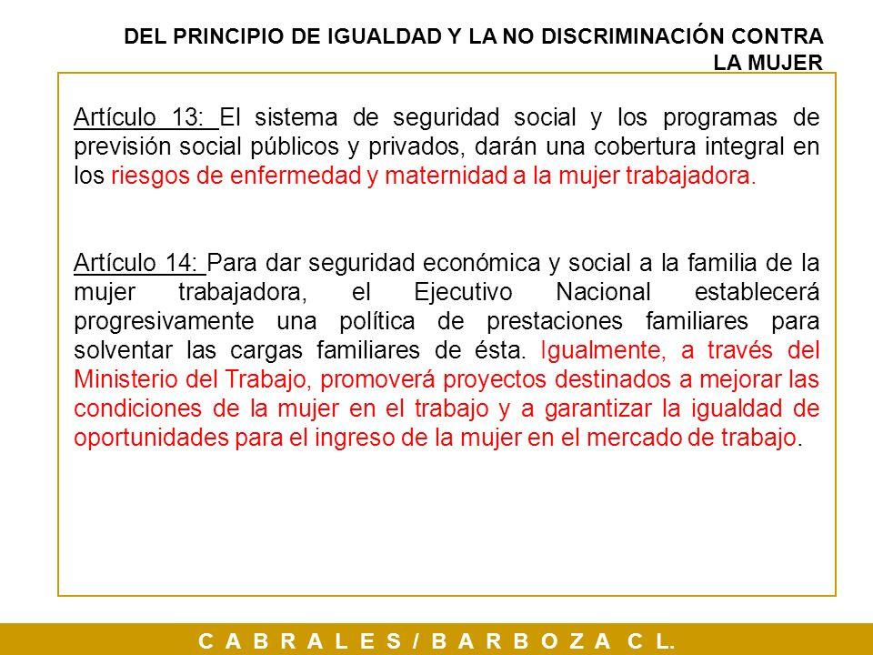 DEL PRINCIPIO DE IGUALDAD Y LA NO DISCRIMINACIÓN CONTRA LA MUJER