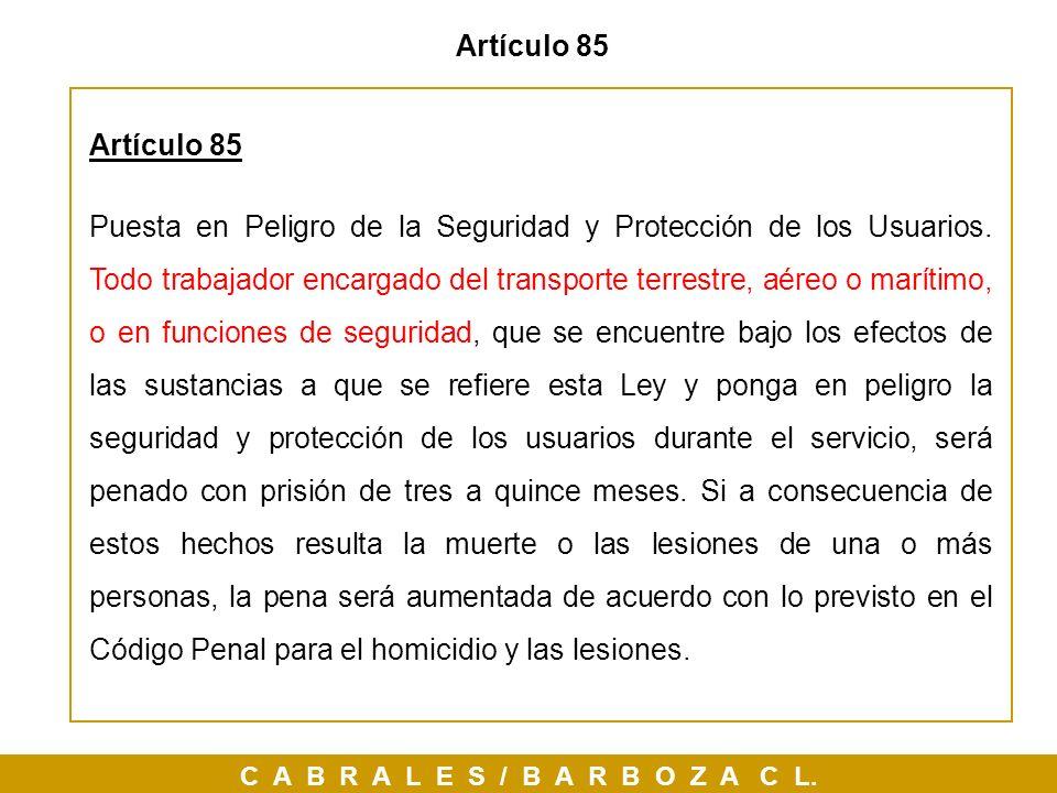 Artículo 85Artículo 85.