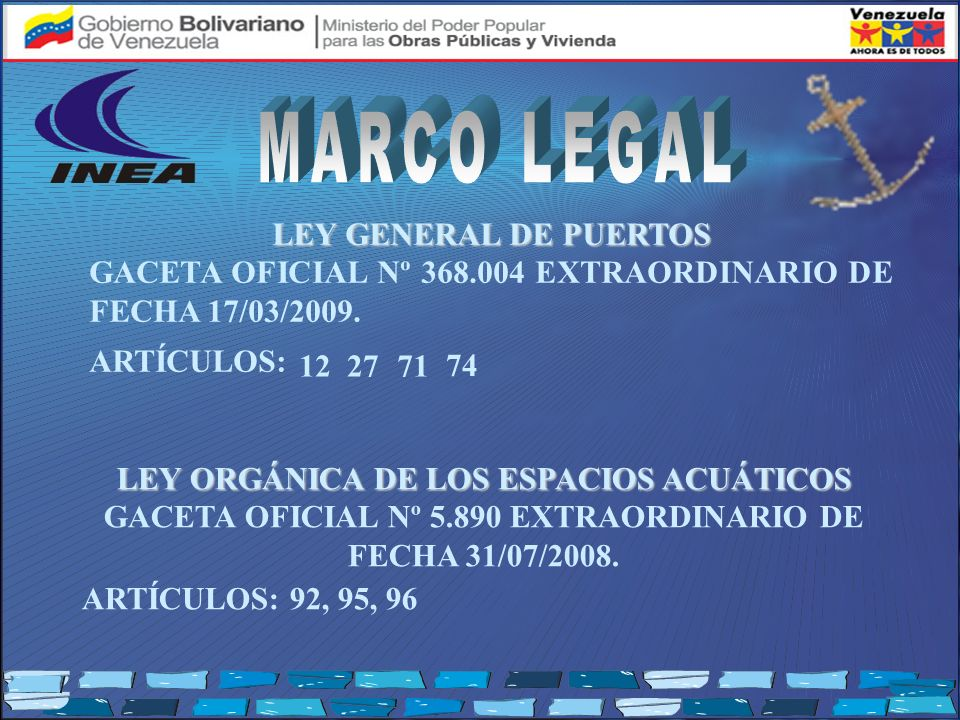 MARCO LEGAL LEY GENERAL DE PUERTOS