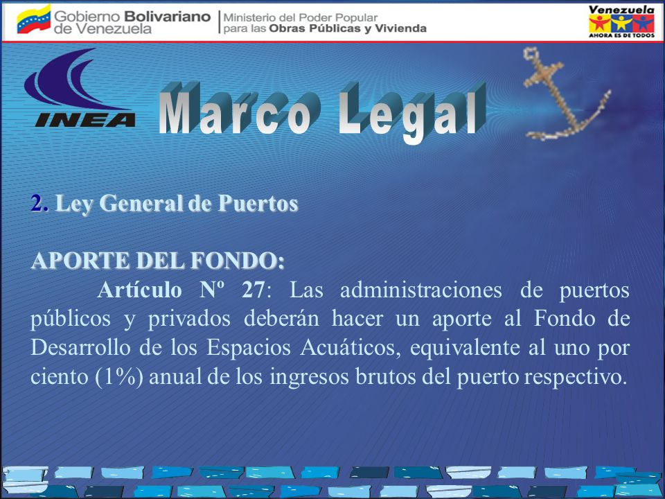 Marco Legal 2. Ley General de Puertos APORTE DEL FONDO:
