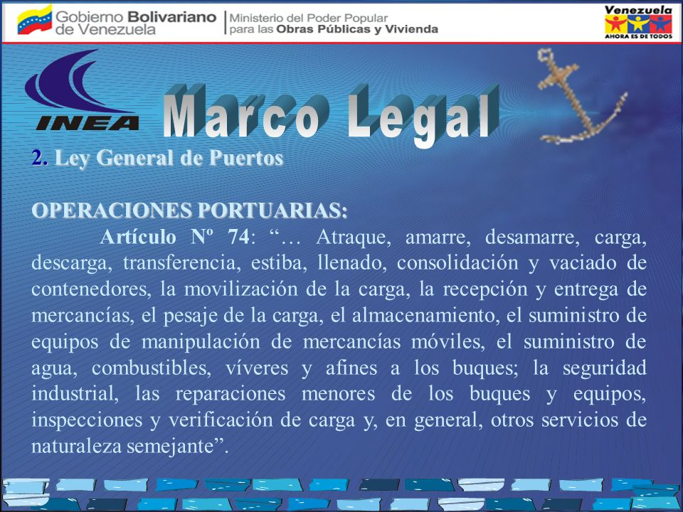 Marco Legal 2. Ley General de Puertos OPERACIONES PORTUARIAS: