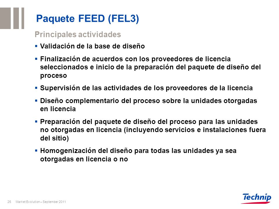 Paquete FEED (FEL3) Principales actividades