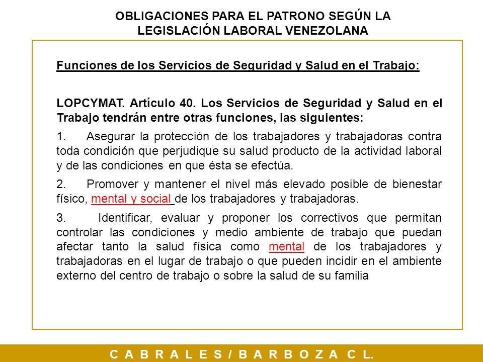 OBLIGACIONES PARA EL PATRONO SEGÚN LA LEGISLACIÓN LABORAL VENEZOLANA