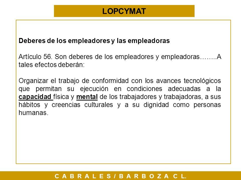 LOPCYMAT Deberes de los empleadores y las empleadoras