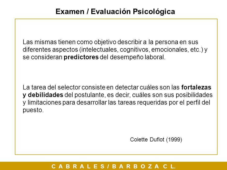 Examen / Evaluación Psicológica