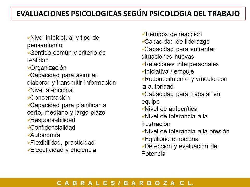 EVALUACIONES PSICOLOGICAS SEGÚN PSICOLOGIA DEL TRABAJO
