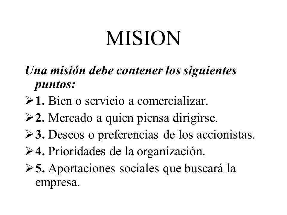 MISION Una misión debe contener los siguientes puntos: