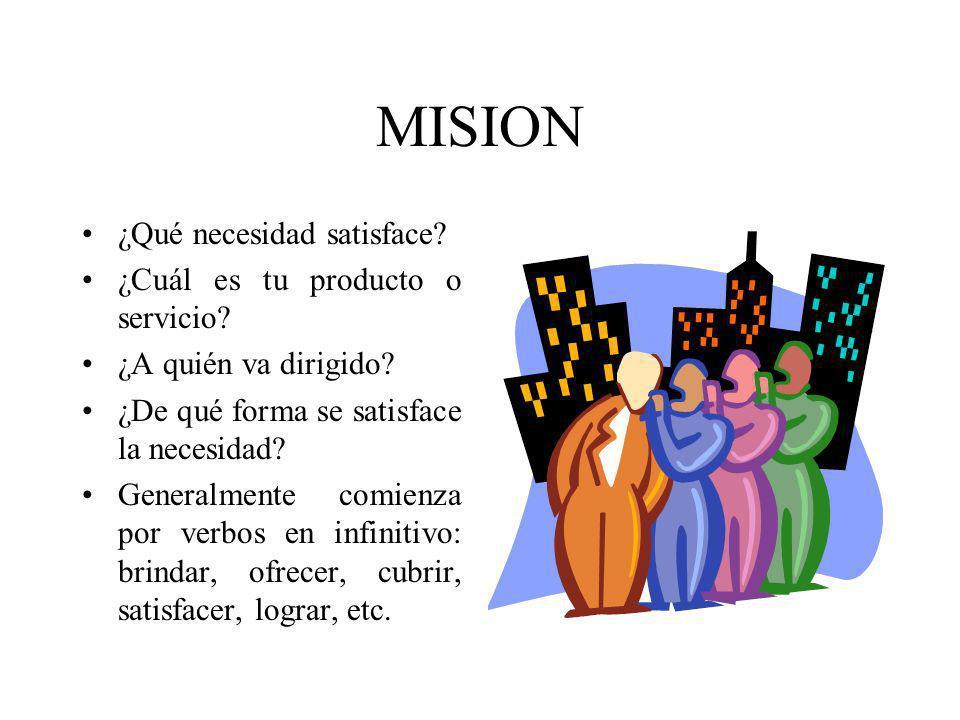 MISION ¿Qué necesidad satisface ¿Cuál es tu producto o servicio