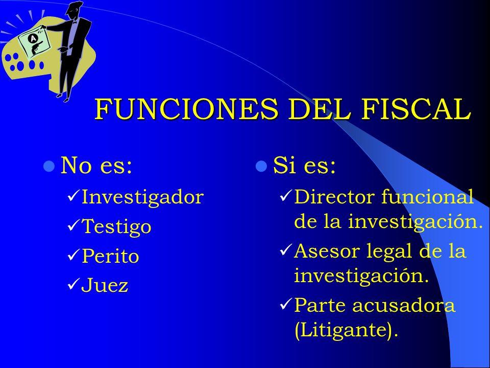 FUNCIONES DEL FISCAL No es: Si es: Investigador Testigo Perito Juez