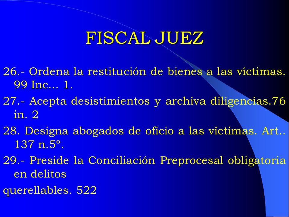 FISCAL JUEZ26.- Ordena la restitución de bienes a las víctimas. 99 Inc... 1. 27.- Acepta desistimientos y archiva diligencias.76 in. 2.