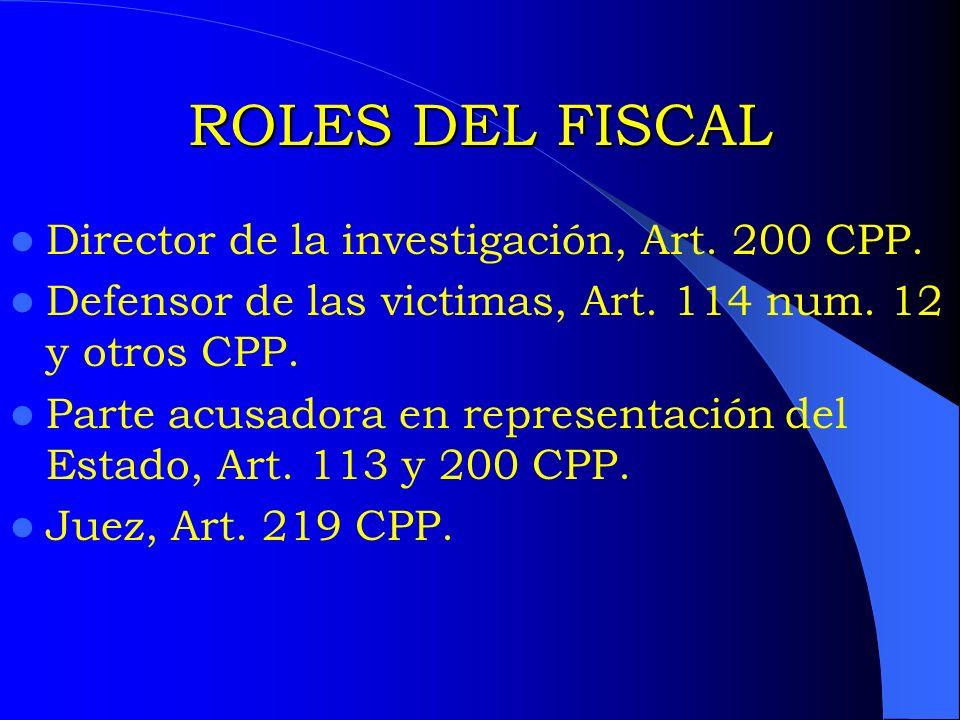 ROLES DEL FISCAL Director de la investigación, Art. 200 CPP.