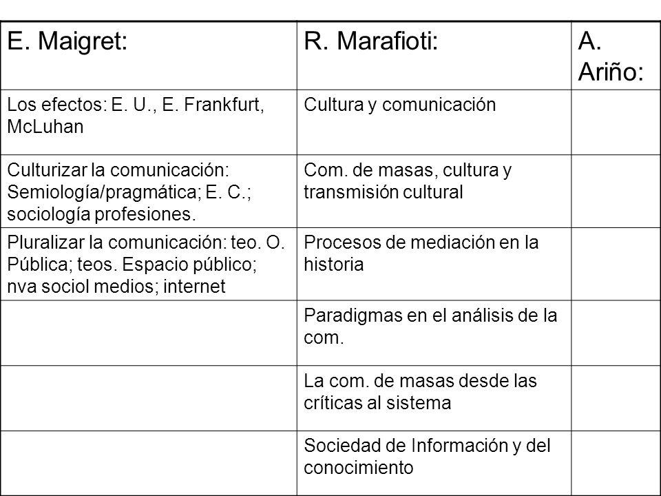 E. Maigret: R. Marafioti: A. Ariño: