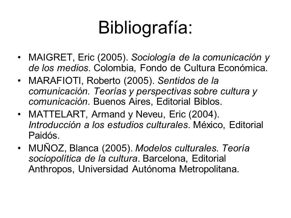 Bibliografía: MAIGRET, Eric (2005). Sociología de la comunicación y de los medios. Colombia, Fondo de Cultura Económica.