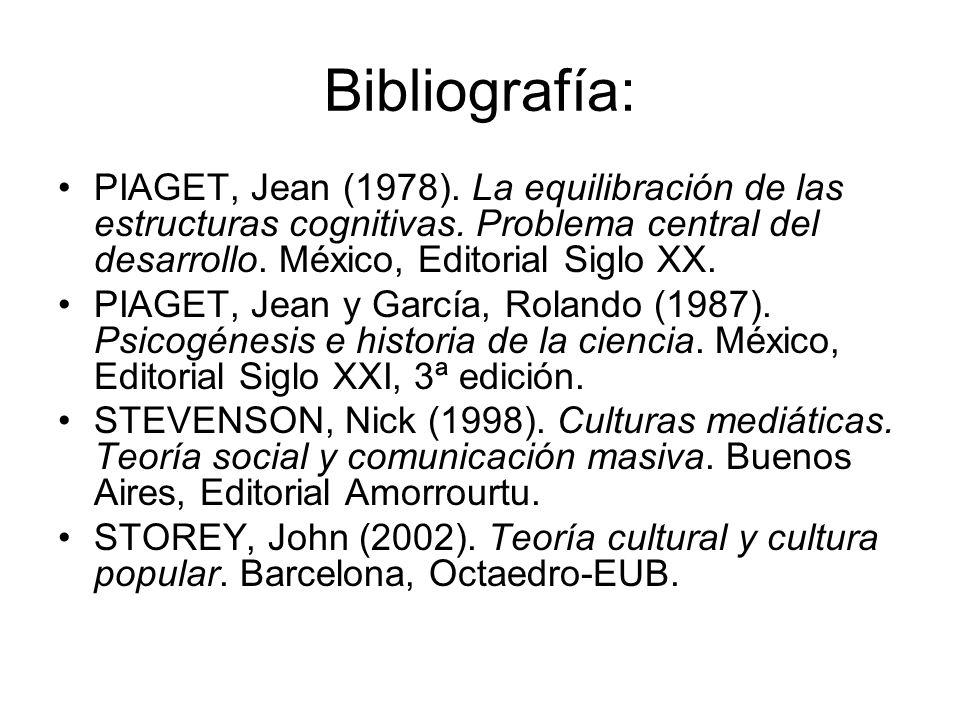 Bibliografía: PIAGET, Jean (1978). La equilibración de las estructuras cognitivas. Problema central del desarrollo. México, Editorial Siglo XX.
