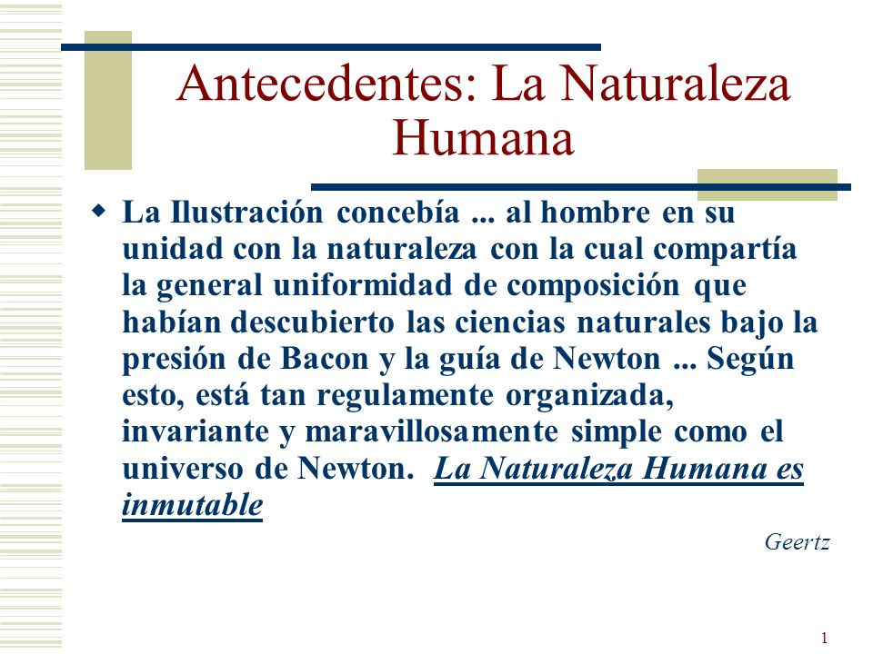 Antecedentes: La Naturaleza Humana