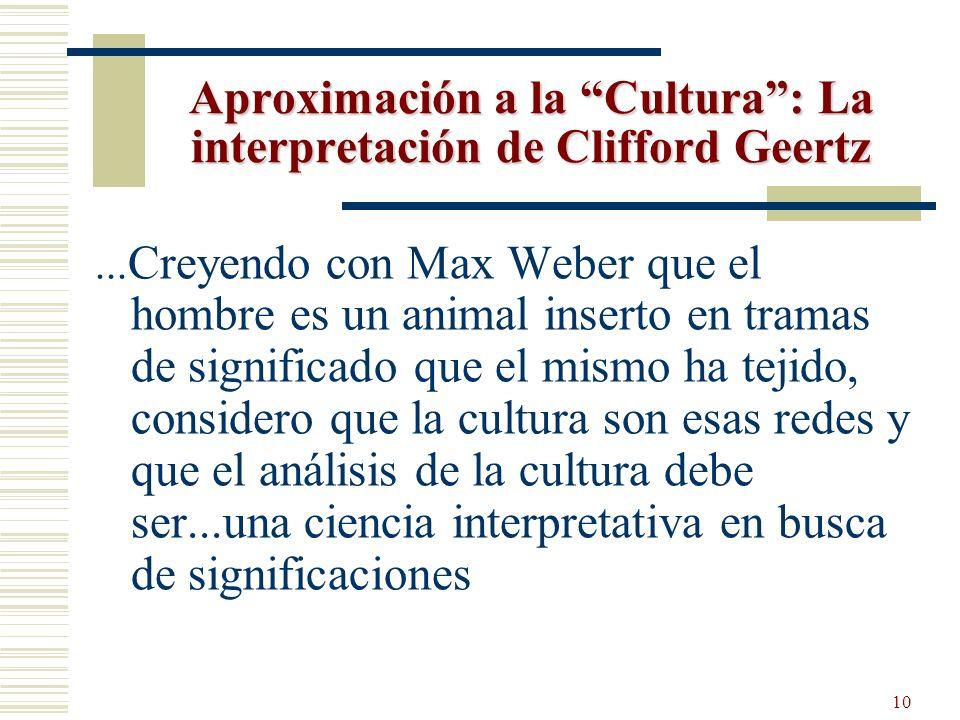 Aproximación a la Cultura : La interpretación de Clifford Geertz