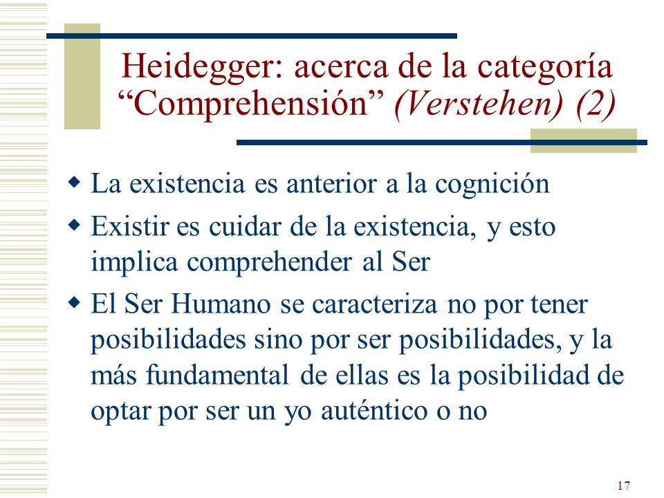 Heidegger: acerca de la categoría Comprehensión (Verstehen) (2)