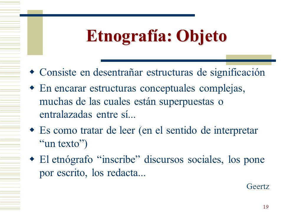 Etnografía: Objeto Consiste en desentrañar estructuras de significación.
