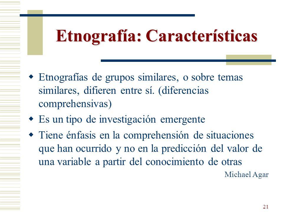 Etnografía: Características