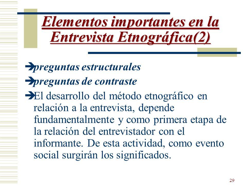 Elementos importantes en la Entrevista Etnográfica(2)