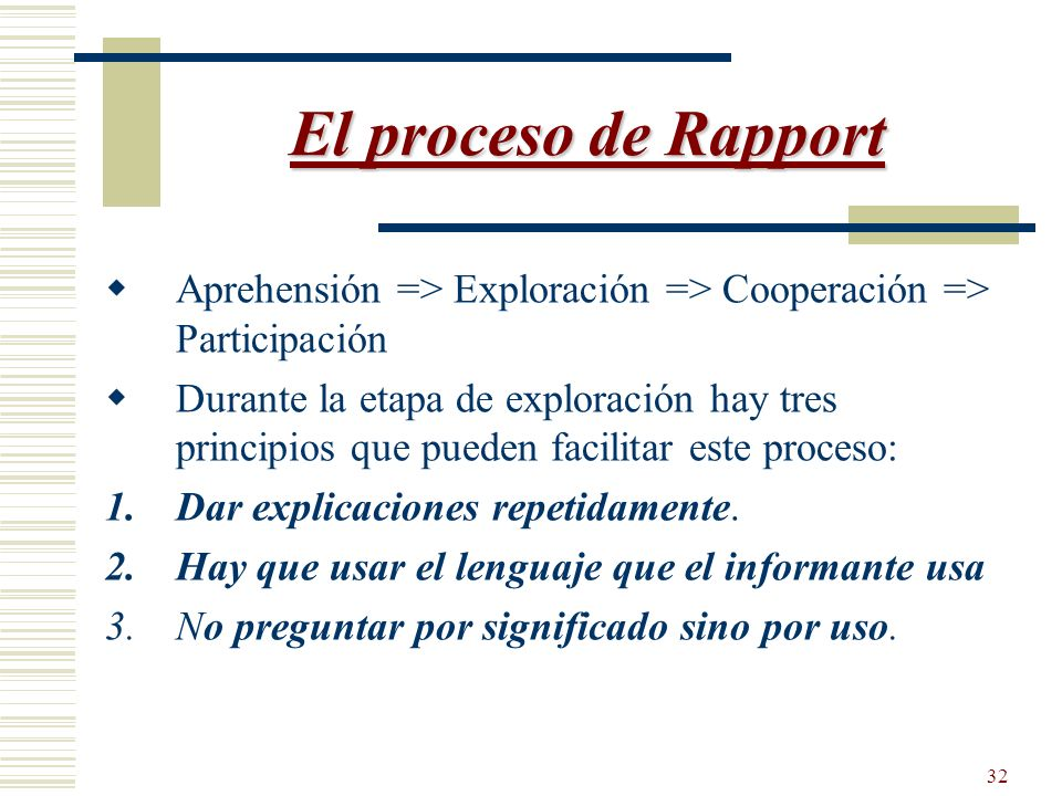 El proceso de Rapport Aprehensión => Exploración => Cooperación => Participación.