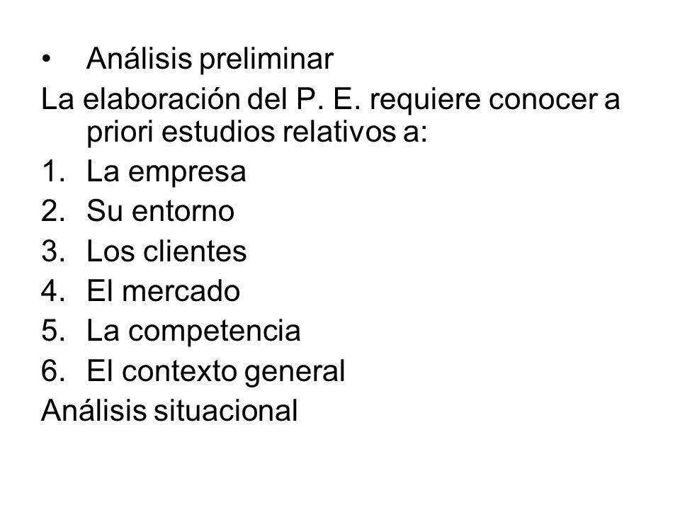 Análisis preliminar La elaboración del P. E. requiere conocer a priori estudios relativos a: La empresa.