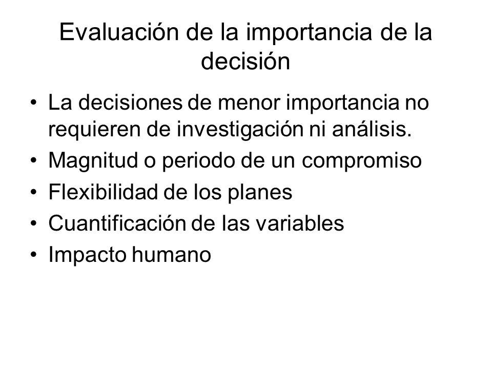 Evaluación de la importancia de la decisión