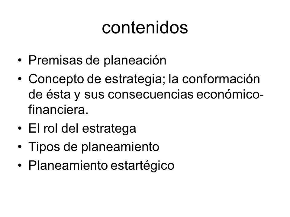 contenidos Premisas de planeación
