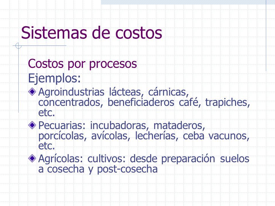 Sistemas de costos Costos por procesos Ejemplos: