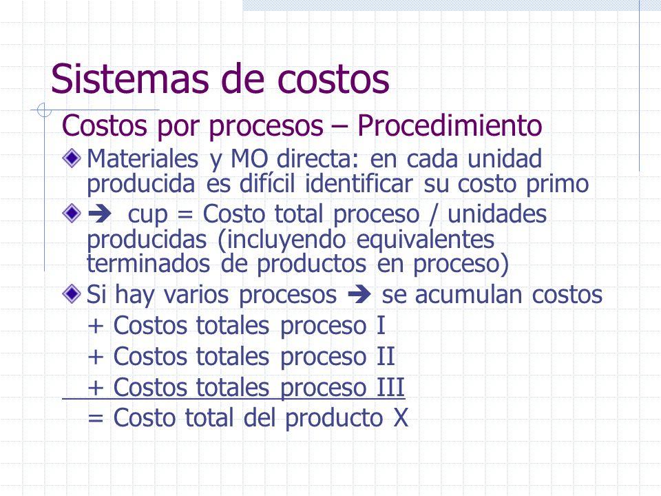 Sistemas de costos Costos por procesos – Procedimiento
