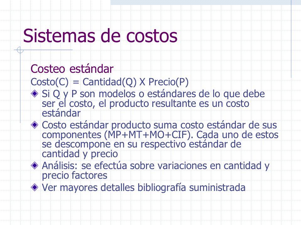 Sistemas de costos Costeo estándar Costo(C) = Cantidad(Q) X Precio(P)