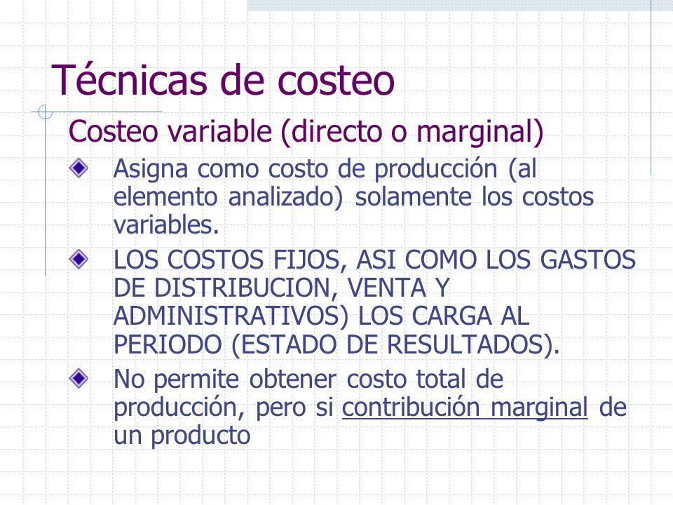 Técnicas de costeo Costeo variable (directo o marginal)