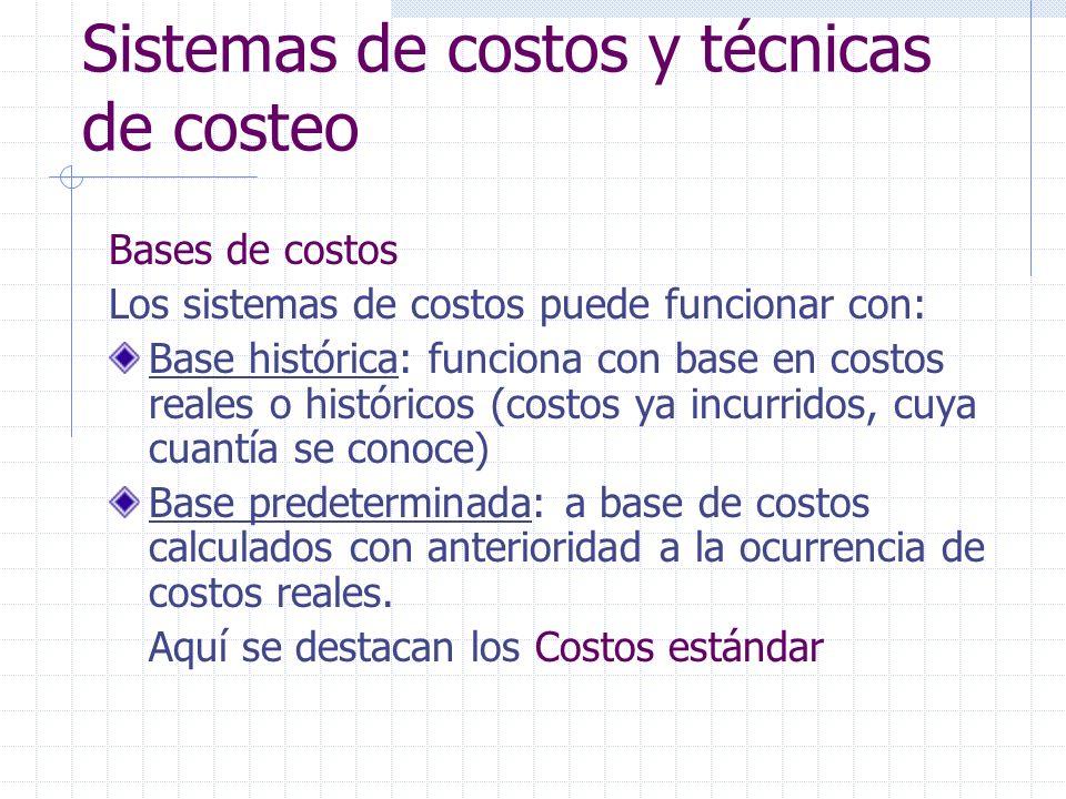 Sistemas de costos y técnicas de costeo