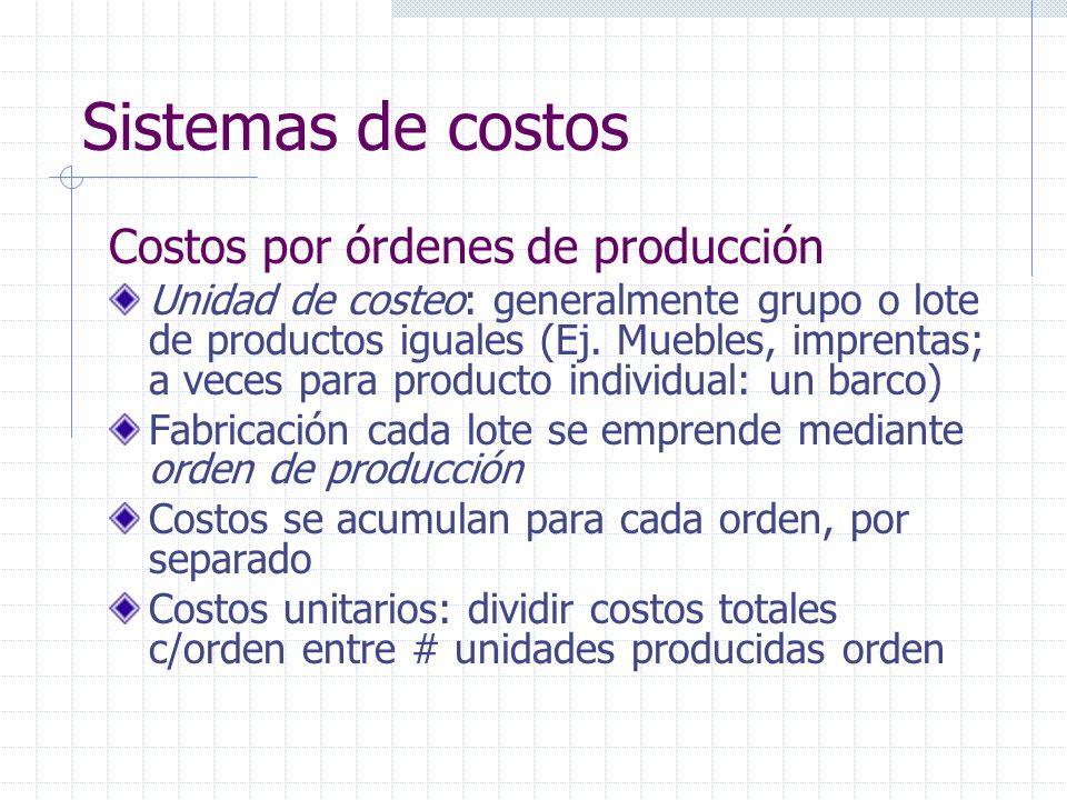 Sistemas de costos Costos por órdenes de producción