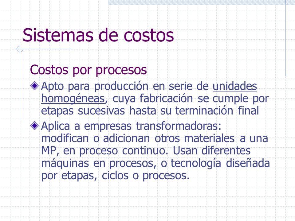 Sistemas de costos Costos por procesos