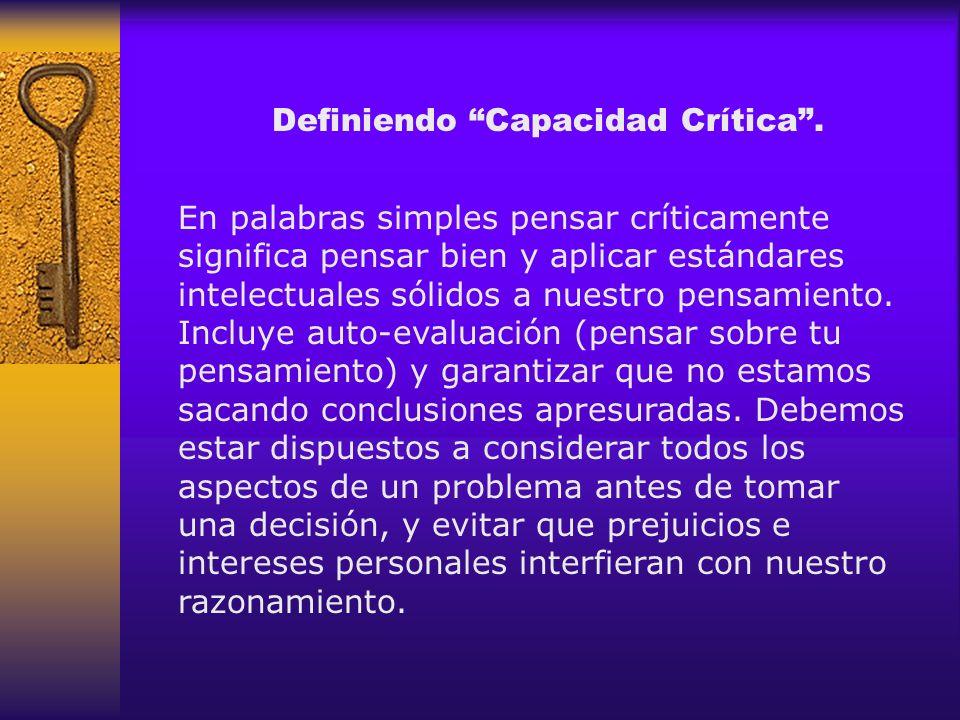 Definiendo Capacidad Crítica .
