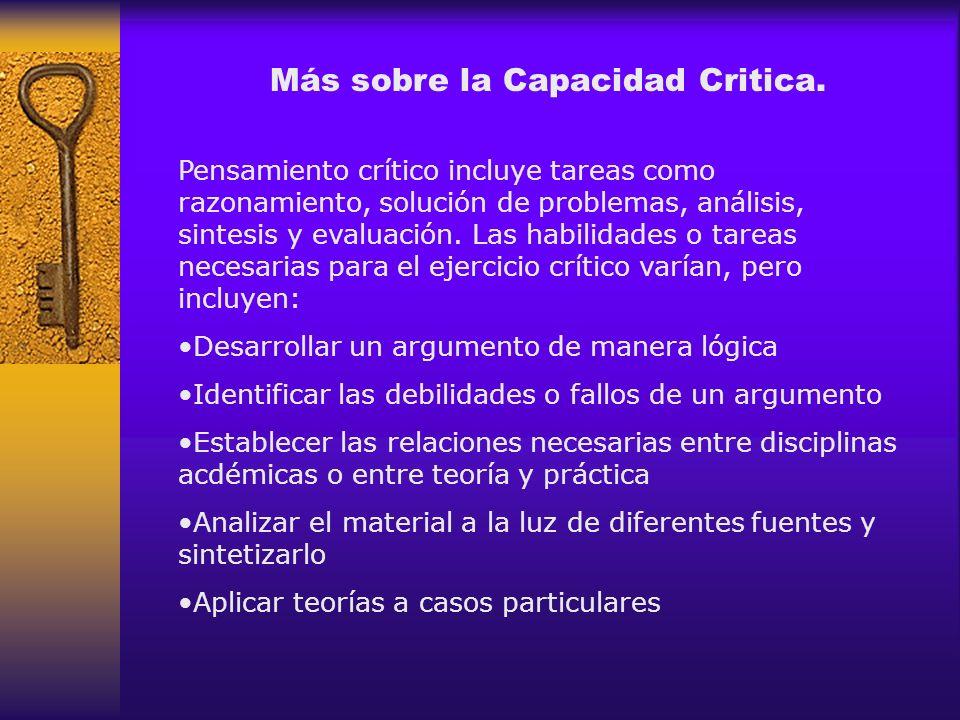Más sobre la Capacidad Critica.