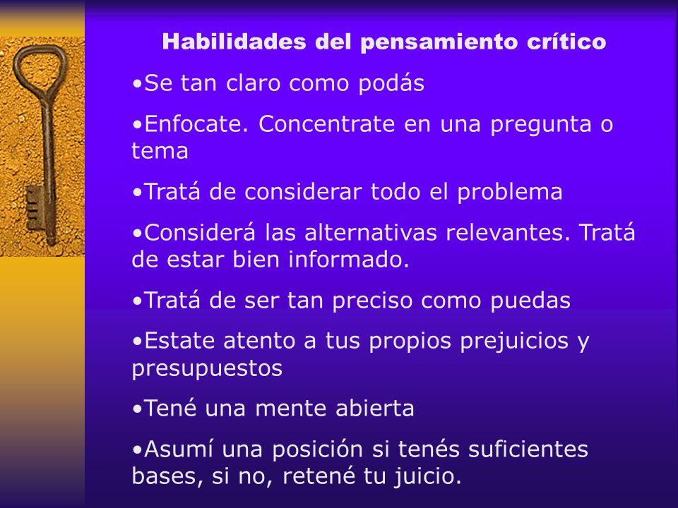 Habilidades del pensamiento crítico